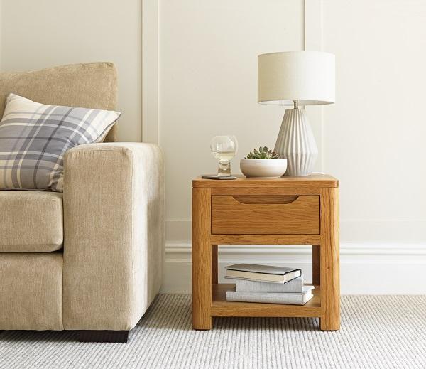 Scandinavian style oak lamp table