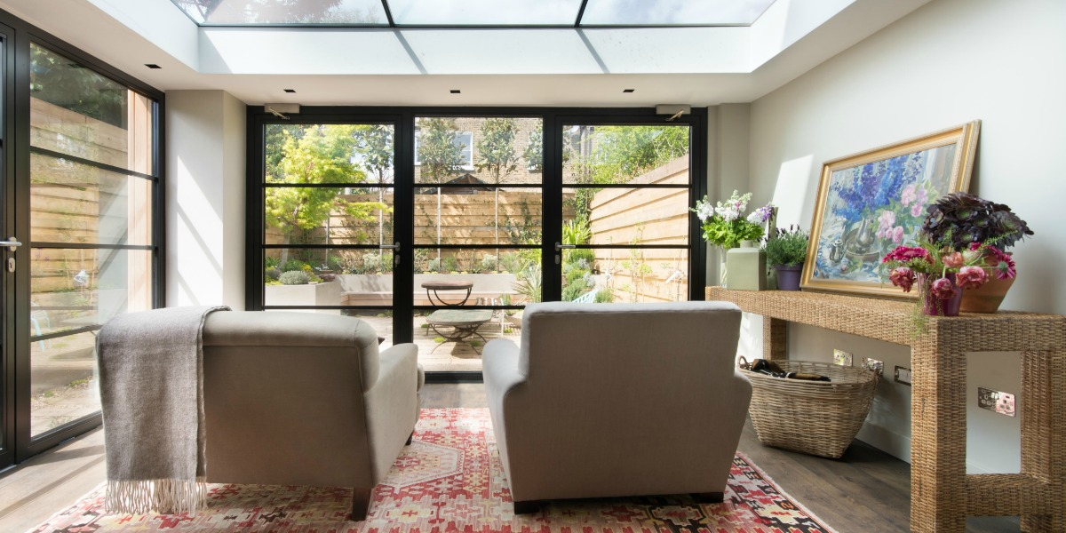 house tour, London, crittall windows and a glass ceiling flood the family room with light