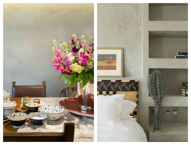 House Tour - London - polished plaster walls in the bedroom and traditional furniture in the dining room