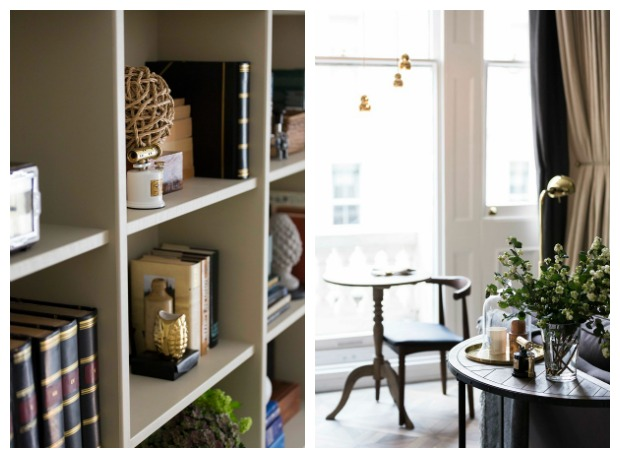 box shelving full of personal mementos plus a quiet space by the window