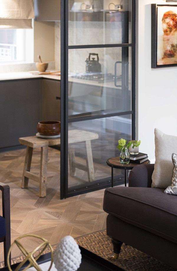 crittall doors, parquet flooring,