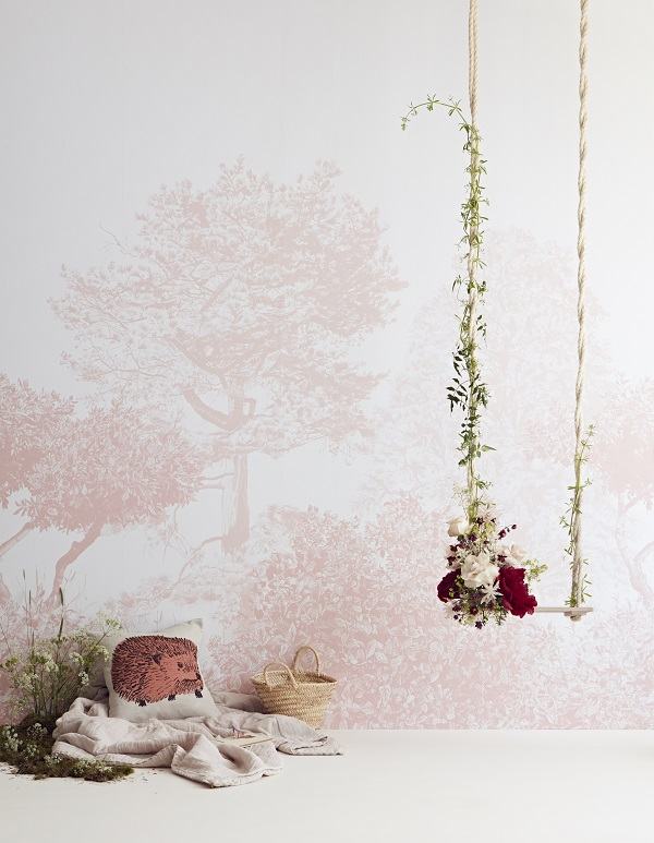Hua trees wall murals in pretty pink - ideal for a little girls room