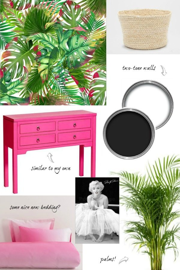 bedroom+moodboard+botanical+pink+black+white