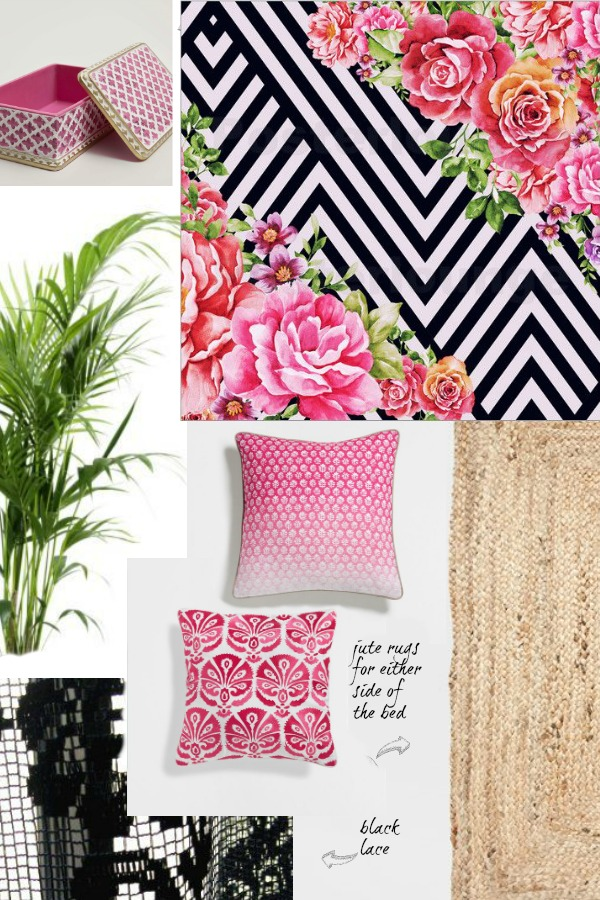 bedroom+moodboard+botanical+pink+black+white