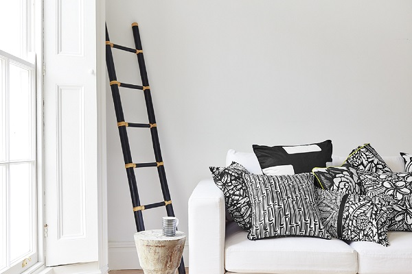 Black and white patterned cushions. Ethnic design from Cambodia