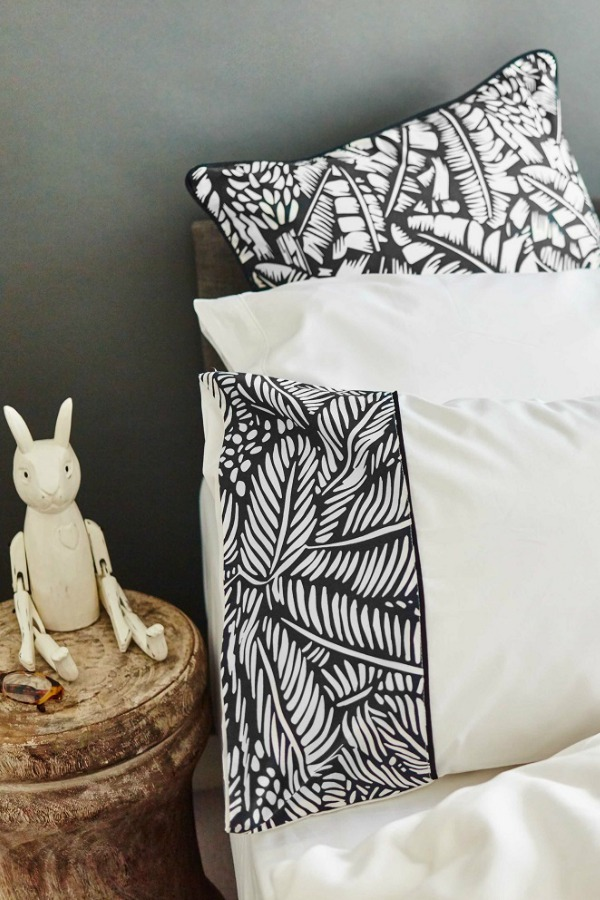 Black and white patterned bedding. Ethnic design from Cambodia