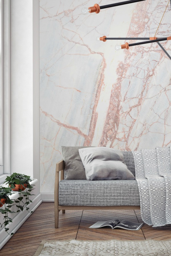 marble effect wallpaper will work with minimalist, scandinavian interiors and traditional interiors alike.