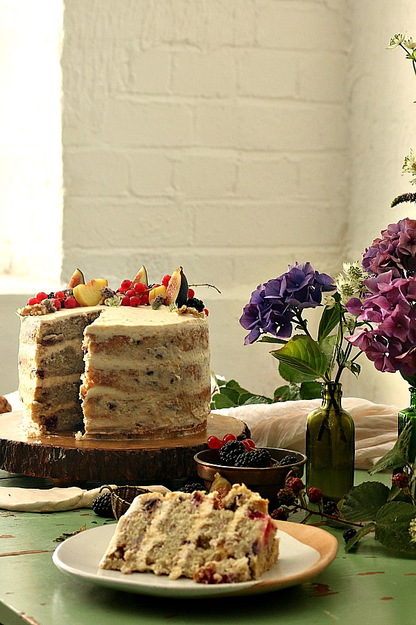 A special celebration cake, flowers and fruit