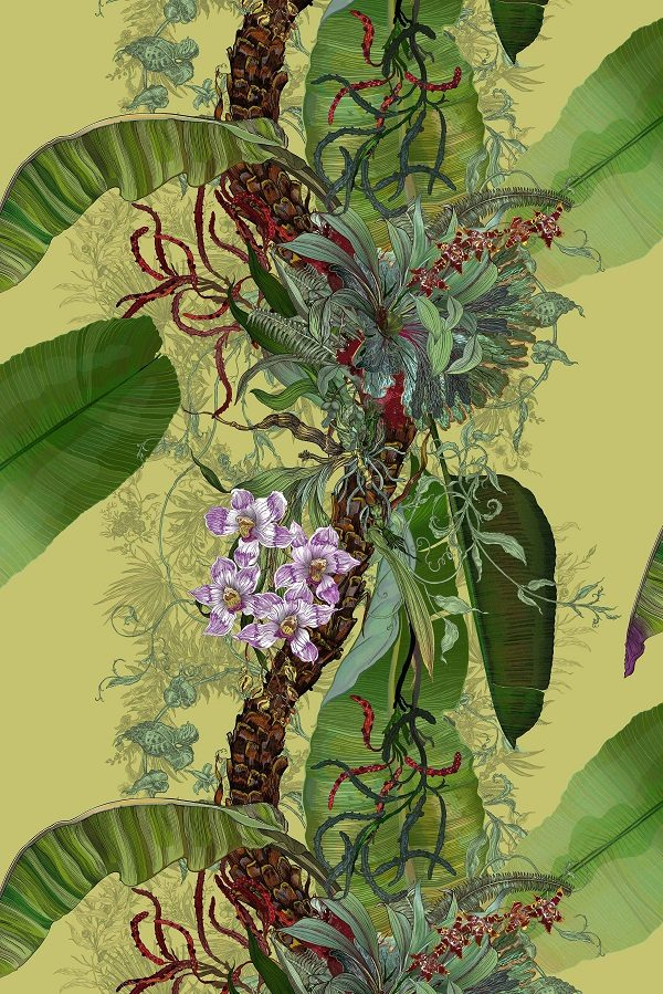 tropical wallpaper design of green trailing leaves and exotic flowers
