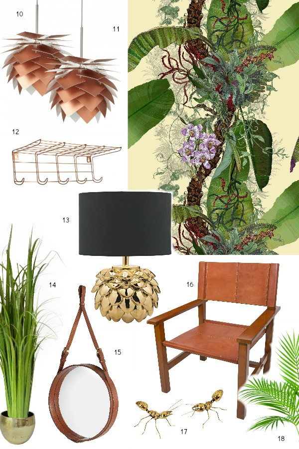 totally tropical decorating scheme for a hallway and stairs