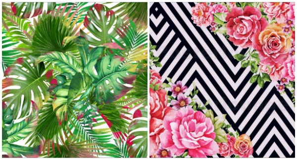 bold and colourful art prints - botanical, roses, black and white geometric shapes