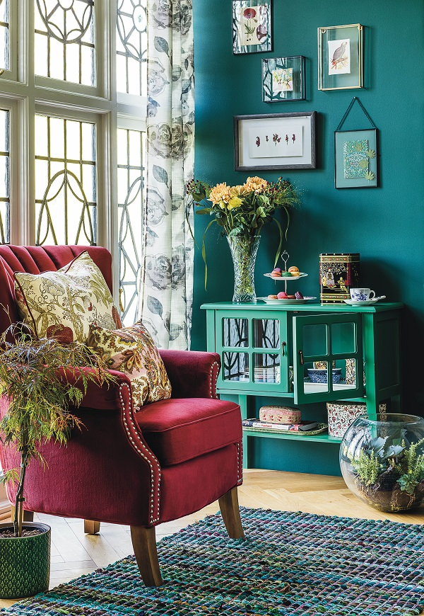 create some cosy corners with saturated colour, a comfy chair, all your favourite things and then put the kettle on.
