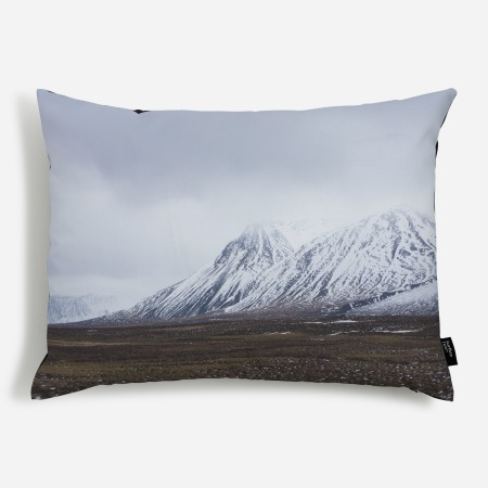 Nordic style 'fresh dusting Icelandic' print on a cushion from Surface View
