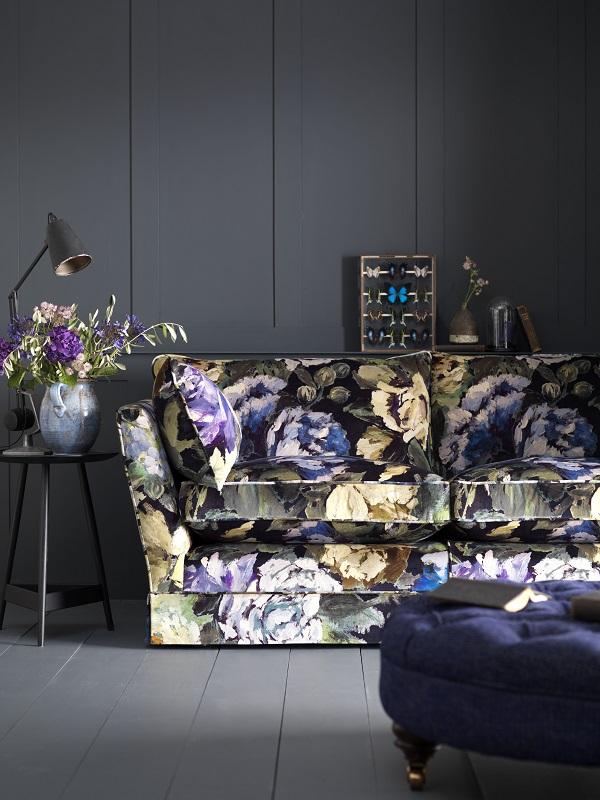 dark floral sofa for winter?