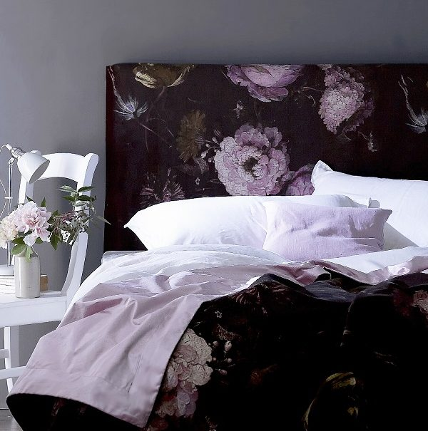 Dark floral bed headboard for a feminine romantic look