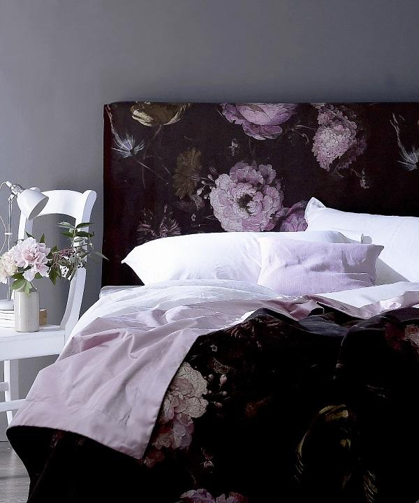 Dark floral bed headboard for a feminine romantic look