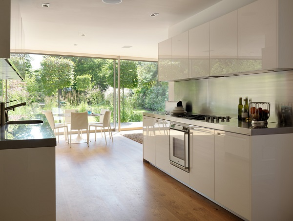 a dazzling white lacquered Boffi kitchen