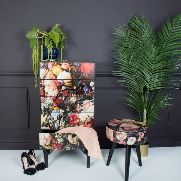 dark florals adorn furniture and accessories