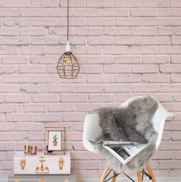 pink painted brick wallpaper