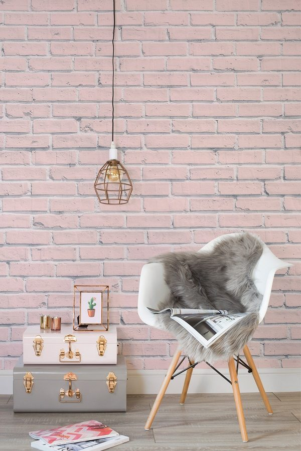 pink painted brick wallpaper