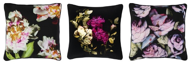 dark floral cushions - scarily romantic