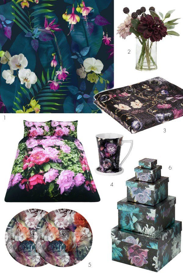 dark floral accessories for winter and autumn