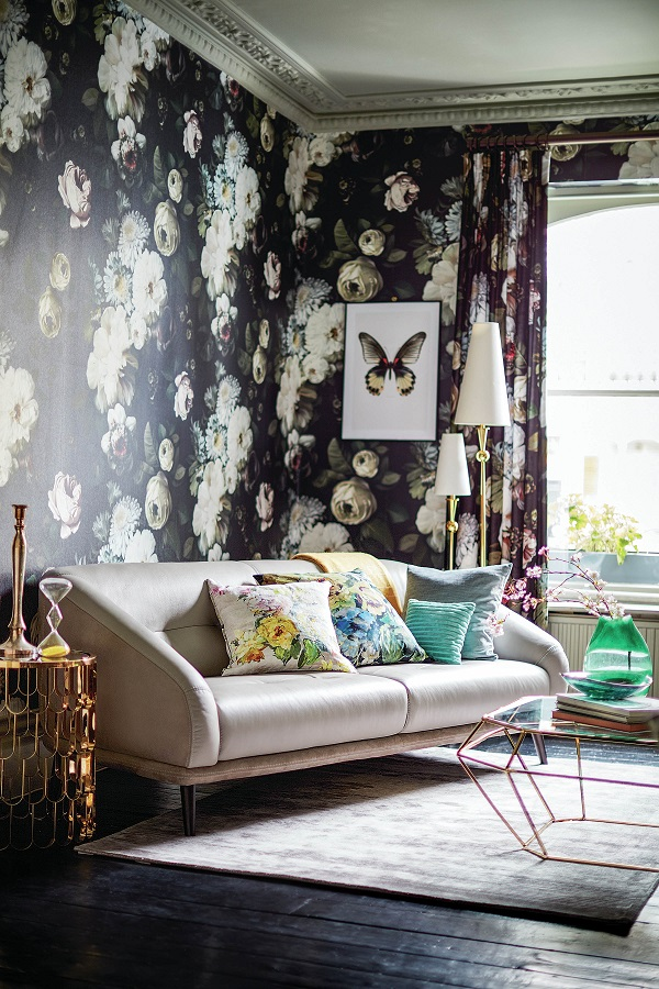 dark floral wallpaper from Ellie Cashman - sofa by DFS
