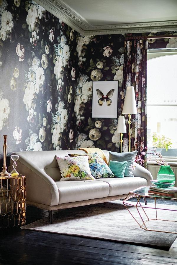 dark floral wallpaper from Ellie Cashman - sofa by DFS