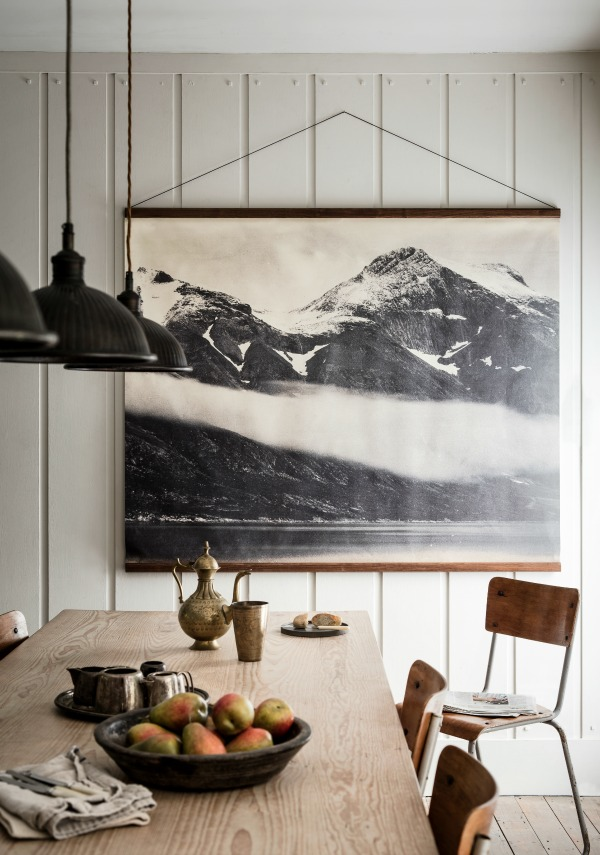 Totally Nordic bleak landscape wall hanging on a white panelled wall