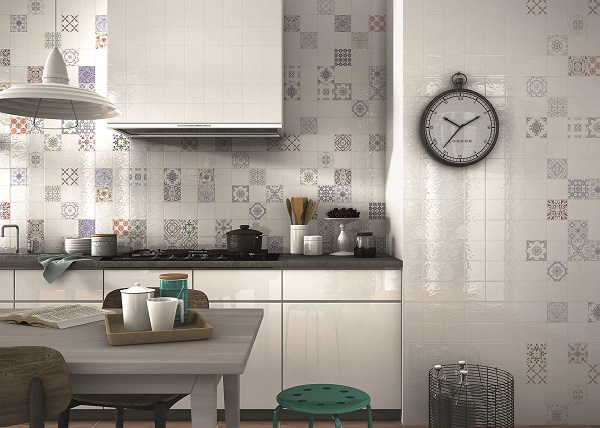 Patterned tiles used randomly for a contemporary version of a patchwork effect