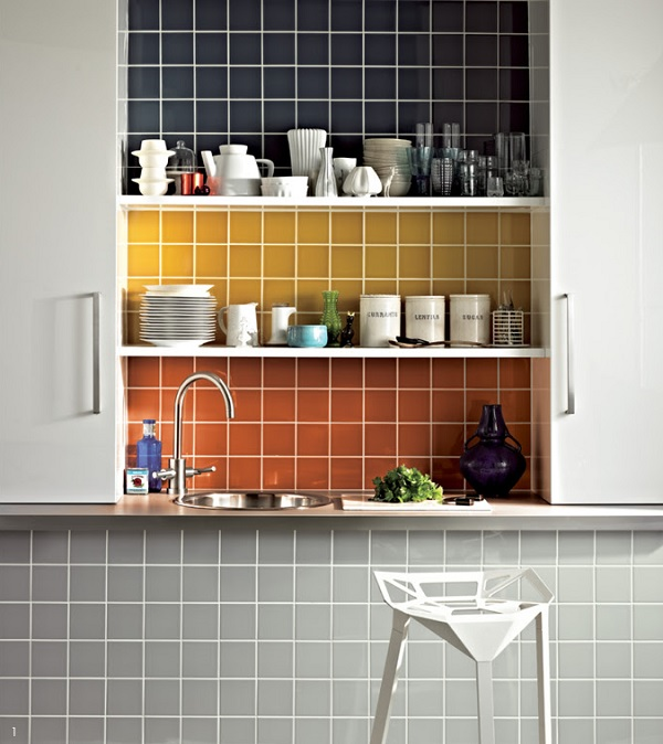 Make a feature with the same tiles used in different colours