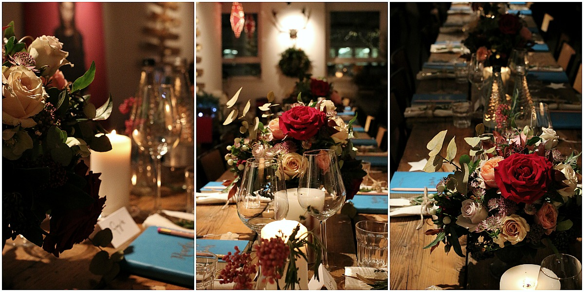 Refectory style table, roses, and candles - simple and chic