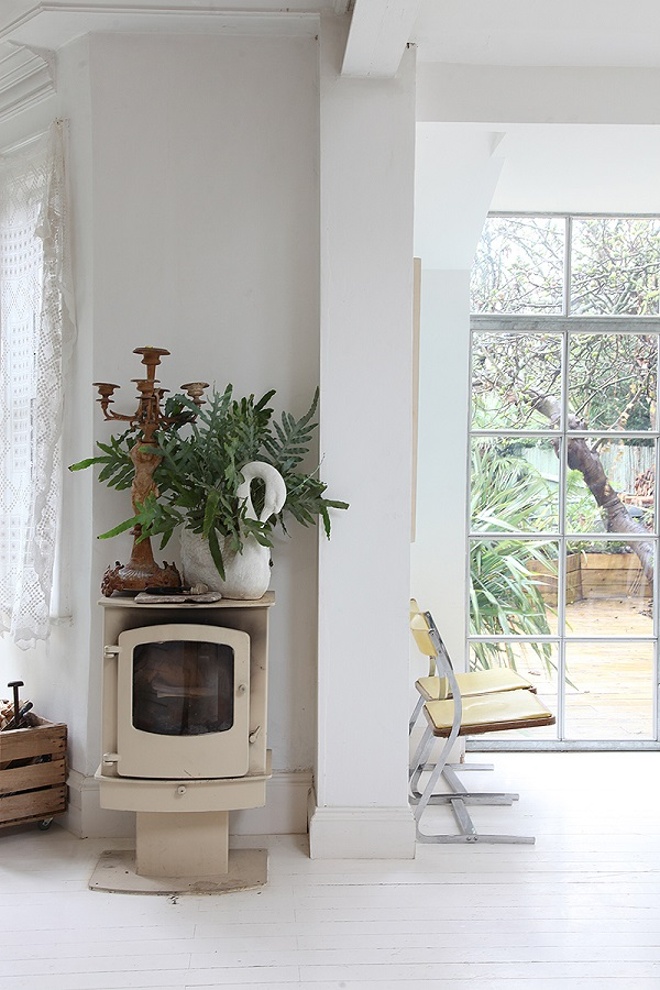 wood burner, crittall windows, plants = very shabby chic
