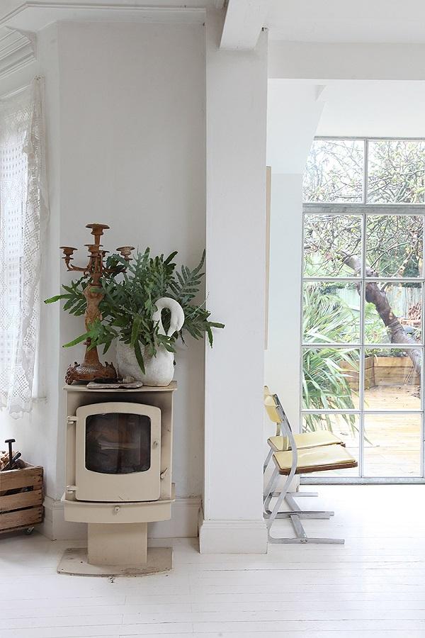 wood burner, crittall windows, plants = very shabby chic