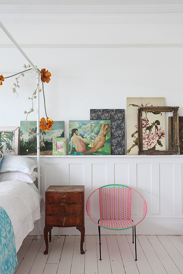 Panelling is a great shelf for a mixture of art