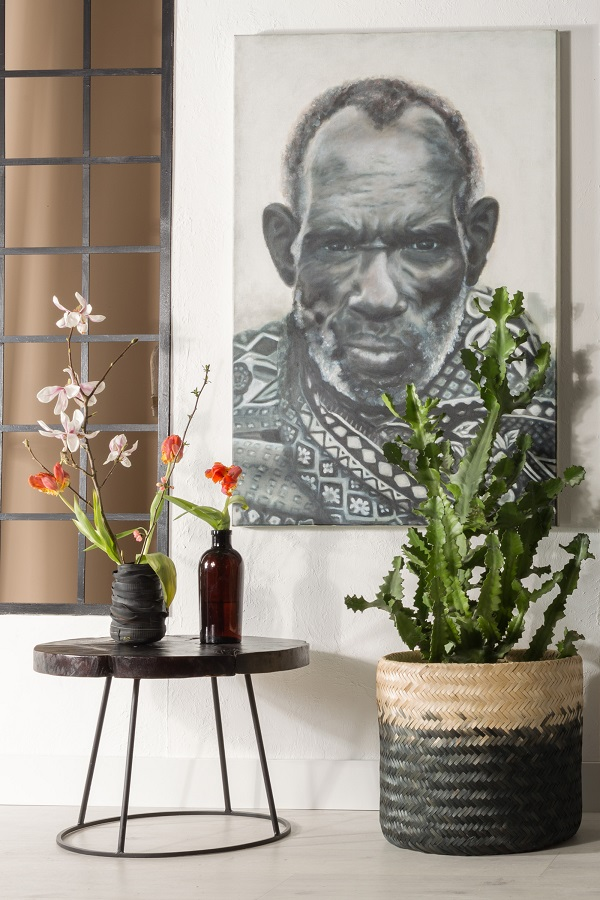 The tribal trend - teak, black and white tribal portraits, woven baskets