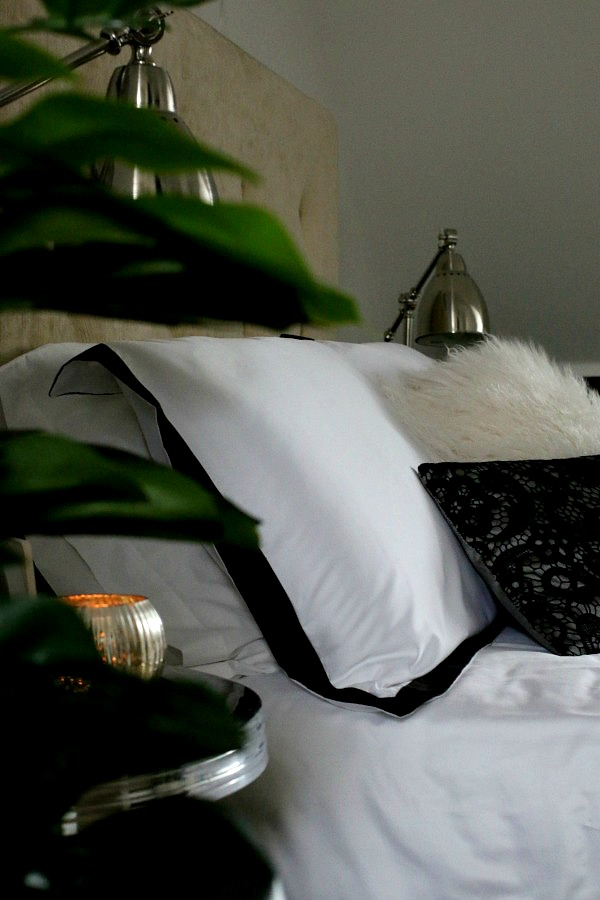 Master bedroom suite, crisp black and white bedding