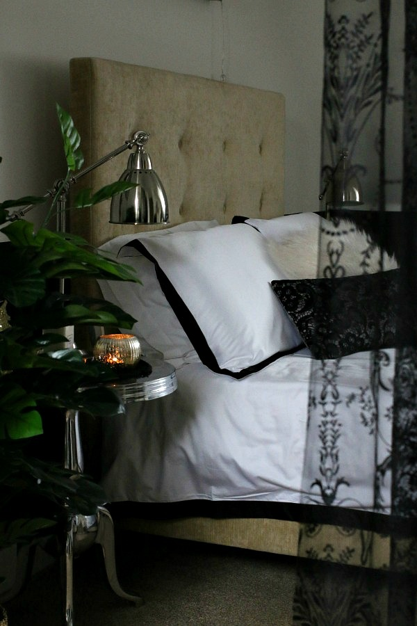 Master Bedroom Suite - black and white bedding, black lace curtain
