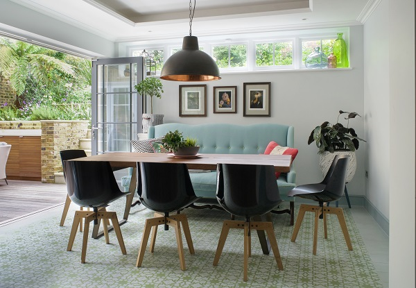 The modern dining room in a Regency House conversion