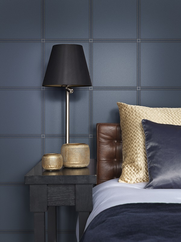 Faux leather wallpaper in navy for masculine style
