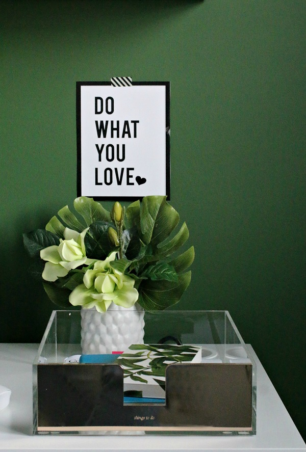 Workspace - green walls - accessories - Kate Spade