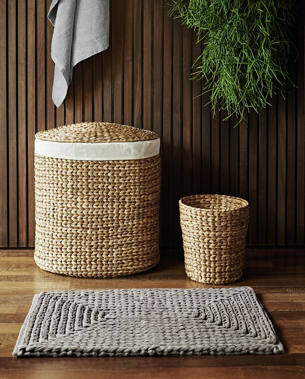 John Rocha at Debenhams - wicker laundry baskets and plaited mats in the bathroom