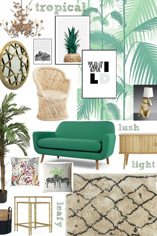 A Fresh and Leafy Living Room Scheme - jungle wallpaper, green sofa, rattan furniture, moroccan rug