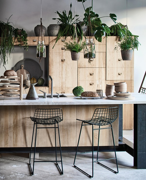 Bringing Conservatory Chic into the home with natural materials, wirework and plants