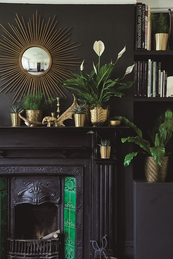 eye catching mantelpiece display of plants in brass pots