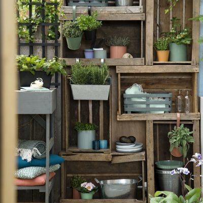 why not build a 'set of garden shelves' out of some old boxes