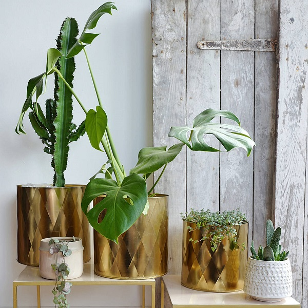 large brass planters with geometric patterns