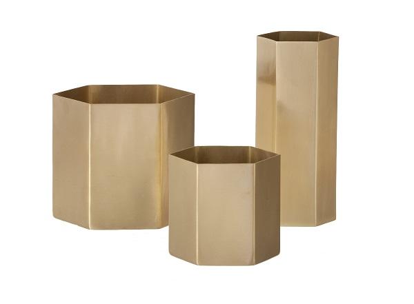 Ferm Living Hexagon Brass Pots