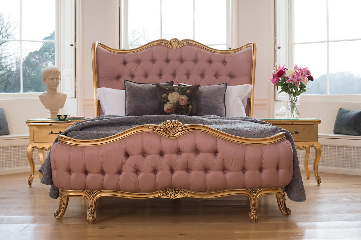 Add a touch of romance with pink velvet and gold
