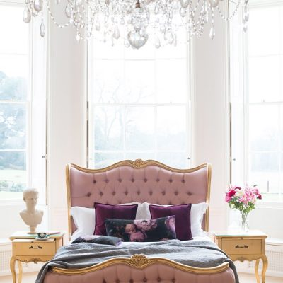 French bed + pink + gold + chandelier